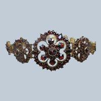 Vintage Silver Gilt Bohemian Garnet Bracelet