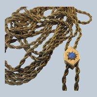 Antique Victorian Ladies Watch Chain Star Burst Opal Slide in Gold Fill