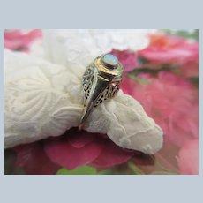 Deco Vintage 10K White Gold Filigree Opal Ring