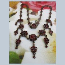 Early 1900s Bohemian Garnet Necklace Czechoslovakia