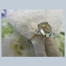 Vintage 14K Aquamarine Diamond Ring