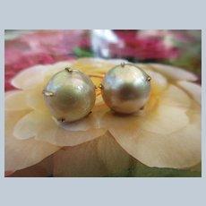 Vintage Cultured Mobe Pearl 14K Pierced Earrings