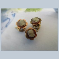 Victorian Cameo Stud Buttons in Gold Fill