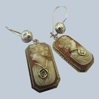 Deco 14K White Gold Habille Cameo Pierced Earrings Diamond Necklace