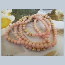 Vintage 14K Angel Skin Coral Necklace
