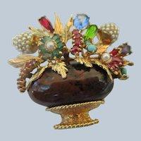Vintage 14K Multi Gemstone Flower Vase Brooch Giardinetti