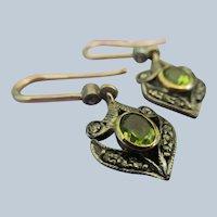 Vintage 14K Silver Rose Cut Diamond Peridot Pierced Earrings