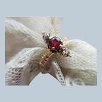 Victorian 10K Garnet Rose Cut Diamond Ring