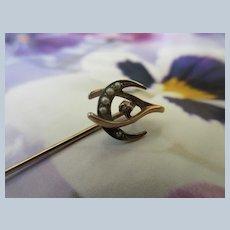 Antique 10K Seed Pearl Crescent Moon Wish Bone Stick Pin