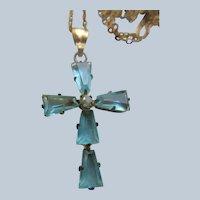 Vintage Aqua Crystal Cross Necklace