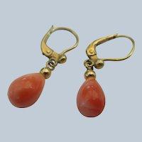 Vintage 10K Coral Drop Pierced Earrings