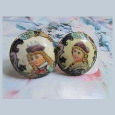 Older Vintage Enameled Portrait Button Screw Back Earrings