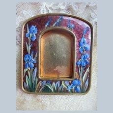 Older Vintage Enameled Picture Frame Blue Iris