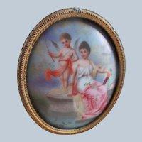 Antique Framed Porcelain Plaque Mythological