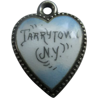 Antique Enameled Sterling Heart Charm Tarrytown NY