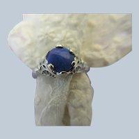 Deco 14K White Gold Filigree Black Opal Ring
