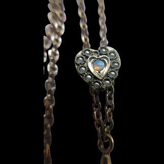 Antique Ladies Watch Chain Seed pearl Opal Heart Slide