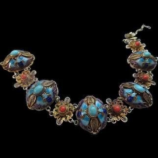 Vintage Silver Gilt Enameled Coral Turquoise Chinese Export Bracelet