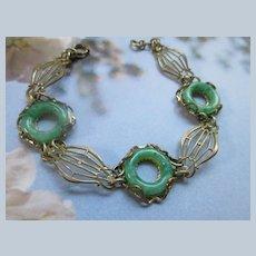 Deco Jadeite Glass Brass Bracelet