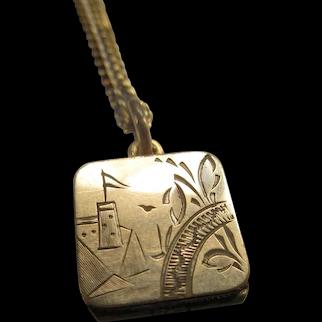 Antique Scenic Locket Necklace