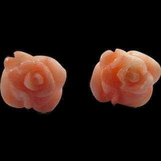 Vintage 14K Carved Coral Roses Pierced Earrings