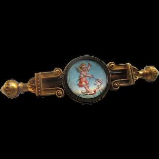 Victorian Antique 14K Enameled Cherub Lapel Pin