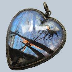 Vintage Sterling Silver Butterfly Wing Heart Pendant