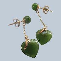 Vintage 14K Jade Heart Drop Pierced Earrings