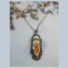 Older Vintage Sterling Silver Blister Pearl Necklace