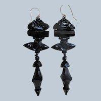 Victorian Glass Long Drop Pierced Earrings Gold Ear Wires