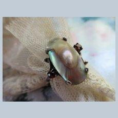 Vintage Sterling Blister Pearl Ring