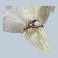 Victorian Antique 10K Opal Seed Pearl Ring