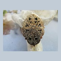 Victorian 10K Statement Ring Black Enameled Tracery