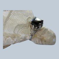 Deco 10K White Gold Filigree Black Onyx Ring