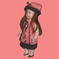 """PRECIOUS 4 1/2"""" Antique German All Bisque Doll in Original Pink Felt Outfit!"""