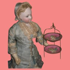 SALE!  Very Rare Antique Miniature Hand Painted Two-Tiered French Fashion Doll Compote Stand!