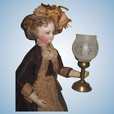 SALE! Beautiful Rare Vintage/Antique Miniature Etched Glass Candle Lamp for FASHION DOLLS!
