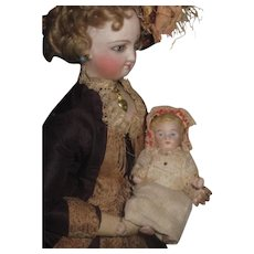 "PRECIOUS Antique German 3 1/2"" All Bisque Baby Doll!"