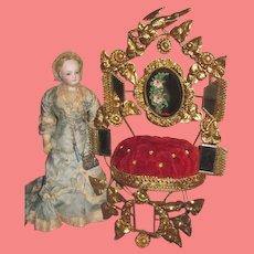 MAGNIFICENT Rare Antique French Ormolu Napoleon III Globe De Mariee Wedding Display Cushion!