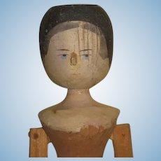 """CHARMING Vintage 11 1/2"""" Articulated Peg Wooden Grodnertal Doll """"Au Naturel""""!"""