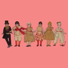 """AMAZING Rare Factory Original Collection of 6 Antique Tiny 2 3/4"""" All Bisque German Hertwig Dolls on Card!"""