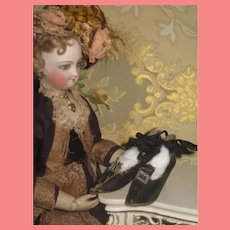 FABULOUS Hard to Find Pair of Original Black Oilcloth Boudoir Doll Shoes!