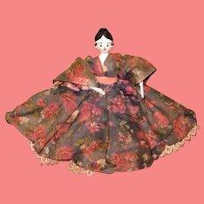 "SALE! Amazing 5 1/4"" Vintage Artist Made Grodnertal Peg Wooden Dollhouse Doll!"
