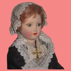 """GORGEOUS 1920's Factory Original 10"""" French Painted Pottery Souvenir Doll of Brussels!"""