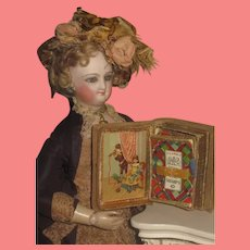 SALE! Charming Antique Victorian Miniature Needlecase Book with Rare DOLL & TOY Motif!