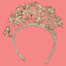 SALE! Exquisite Antique French Wax Orange Blossom Floral Bridal Crown for DOLL DISPLAY!