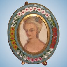 SALE! Tiny Exquisite Antique Miniature Micro-Mosaic Oval Frame with Lithograph Portrait!