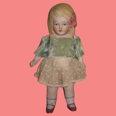 CHARMING Large 7' All Original Antique Nippon Jointed All Bisque Girl Doll!