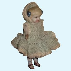 """SWEET 5 1/2"""" Antique Pin Jointed All Bisque Girl Doll!"""
