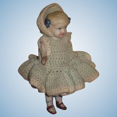 "SWEET 5 1/2"" Antique Pin Jointed All Bisque Girl Doll!"